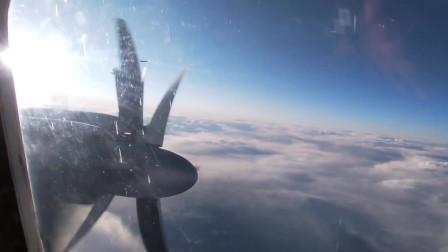 """科技与军事:北方舰队的远程反潜飞机Tu-142在北约空军战斗机""""护送""""下完成了在北极和大西洋水域的飞行任务"""