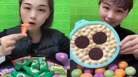 小姐姐试吃:巧克力夹心小鱼、奥利奥饼干,甜甜的超美味,很好吃的样子 - 副本