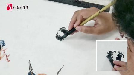 美院国画教程:写意翠鸟背面站立姿态的画法 精彩教学