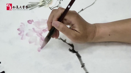 写意花鸟教程:樱花花瓣的画法 设色清新淡雅