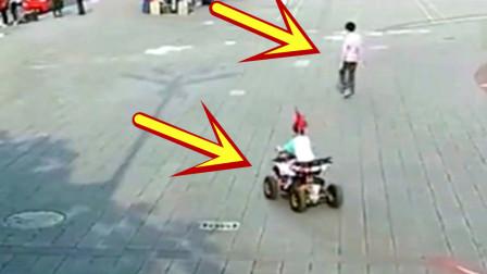 3岁小孩广场骑车,要不是监控拍下,都不知道发生了什么!