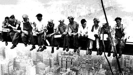 1930年美国,建筑工人高空作业,高216米纽约第五大道500号!