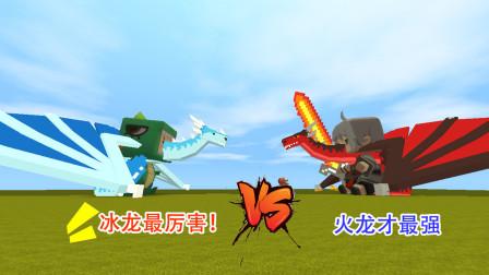 迷你世界:大表哥变身龙骑士,召唤火龙,对抗小表弟的冰龙