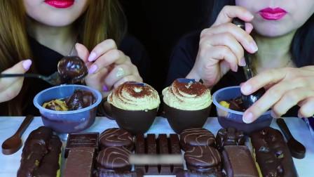 国外美女吃播:吃巧克力甜点,巧克力蛋糕杯+冰淇淋泡芙