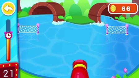 好多的鸭子呀 奇奇能不能把鸭子赶到洞里面去呢?宝宝巴士游戏