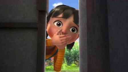 女娃在门缝里偷看大黑,农村娃故意把门关上,女娃很不开心的走了