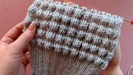 井然有序的3D棒针花样,3D格条针编织教程,成人儿童毛衣都可用