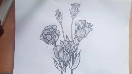 """小白学画画:今天就一起来画个简单点的吧,你们知道""""桔梗花""""花语吗?"""