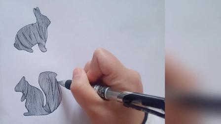 新手教学:巧用动物剪影画一副线描画