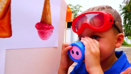 萌娃小可爱变成甜点师,有好多客人啊,萌娃:冰淇淋来了