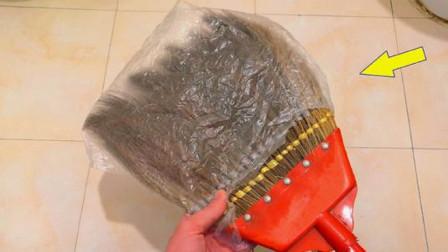 扫把上包个塑料袋,简直太实用了,老婆每天都抢着干家务