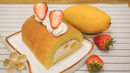 奶油芒果卷厚厚的蛋糕,细腻的奶油裹着芒果,一口超级满足感