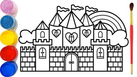 儿童手工启蒙乐园:教孩子们画笔绘画一座漂亮的城堡和涂颜色!