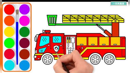 消防车来灭火 消防车简笔画 画消防车