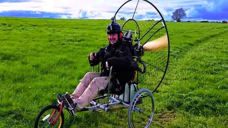 """农村大叔在家憋不住了,发明一辆""""飞行三轮车"""",这也太有才了"""