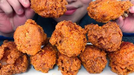 吃自制奥尔良黄金脆皮香辣炸鸡,听不一样的咀嚼音!