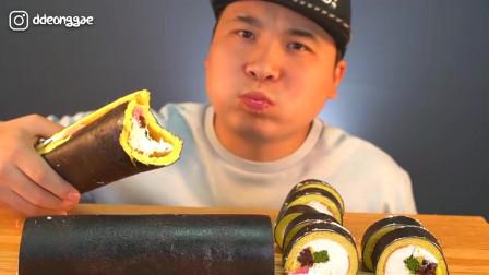 韩国大胃王胖哥,试吃紫菜包饭卷蛋糕,大口大口吃的太过瘾了
