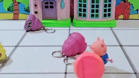猪爸爸得到了一个果冻,乔治也来试一试,他会得到什么呢?
