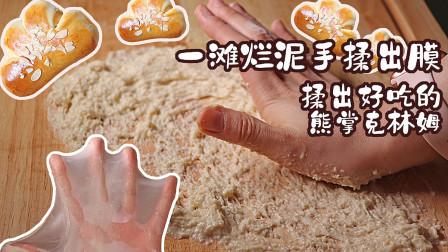 见证奇迹的时刻!如何将一滩烂泥手揉成光滑漂亮的乖宝宝面团?手揉熊掌克林姆面包