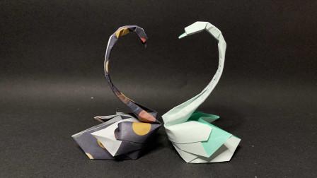 【折纸_教程】一对可爱的天鹅,还非常简单哟!来折吧!