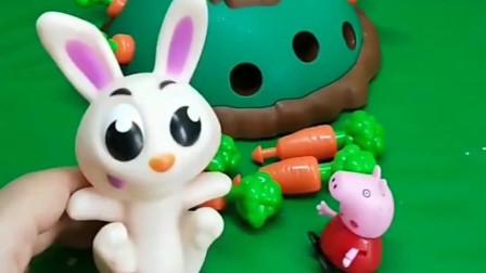 小白兔去吃胡萝卜掉到陷阱里了,佩奇帮小白兔救出来了,佩奇真善良!