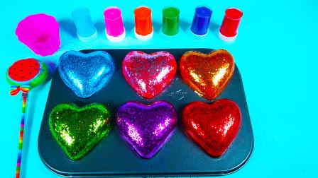 在盘子里变出闪闪发光的爱心 拆出好玩的玩具