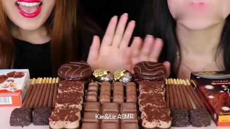 """吃播大胃王:""""巧克力慕斯+奶油蛋+百奇+奶油蛋糕""""吃得真馋人"""