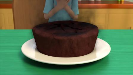 孩子们用微波炉烤蛋糕结果烤焦了