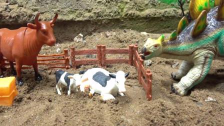 亮亮玩具汽车拖拉机和侏罗纪恐龙饲养牛,婴幼儿宝宝过家家游戏视频