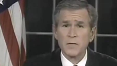 2003年伊拉克战争开始的时候,小布什和萨达姆发表了电视讲话