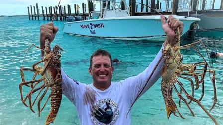 国外小伙举办捕虾大赛,专配游艇设备豪华,入水的瞬间抓到巨型龙虾!