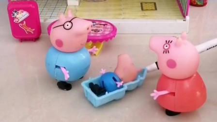 猪妈妈这么高兴,原来是小乔治会叫爸爸了,猪爸爸也高兴了
