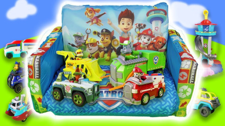 汪汪队汽车玩具,狗狗们的消防车、工程车和直升飞机