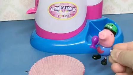 猪爸爸总是要吃乔治的零食,乔治做了气球蛋糕,猪爸爸倒霉了