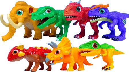 恐龙世界玩具大全:霸王龙牛角龙棘背龙精彩大集合,谁最厉害呢?