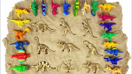 霸王龙三角龙腕龙肿头龙神秘大集合,谁最厉害?恐龙世界玩具大全