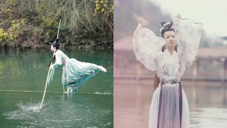 民间绝技!美女小姐姐身轻如燕表演水上漂,中华绝技传承千年!