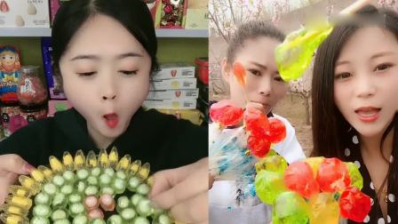 小可爱吃播:果冻甜甜圈和果冻小鱼,看着就想吃