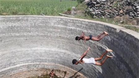 男孩作死直接跳进10米深水井,结果却发生意外,镜头拍下全过程!