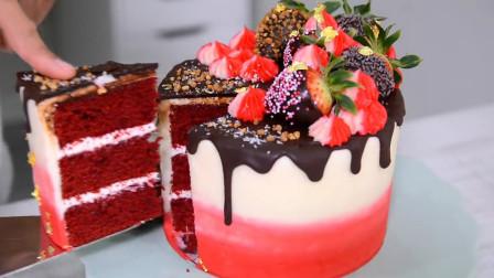 教你自制高颜值的巧克力水果蛋糕,简单易学,送女友刚好合适!