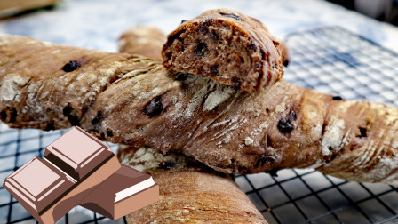 不用揉面也能吃上的可可面包~麦香浓郁、还有大量的巧克力豆、
