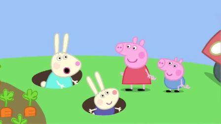 播放小猪佩奇动画片,瑞贝卡的家没有楼梯,但是有地道