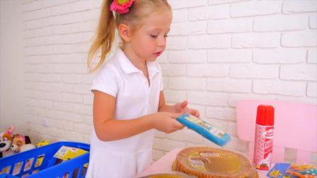 萌娃小可爱变成蛋糕师,来制作三层蛋糕,萌娃:好棒啊