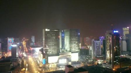 航拍石家庄大型商业综合体及周围晚上夜景,漂亮的不知道怎么形容