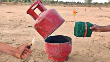 """把""""火药包""""塞进煤气罐会怎样?点燃的瞬间,彻底被震撼了!"""