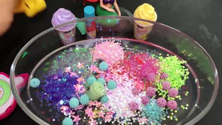透明水晶泥,贝壳彩泥+冰激凌彩泥搭配做泥,无硼砂史莱姆超级解压