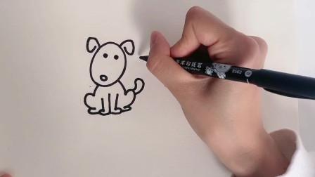 春天到了,画了一只小狗简笔画,和爸爸妈妈一起画画吧