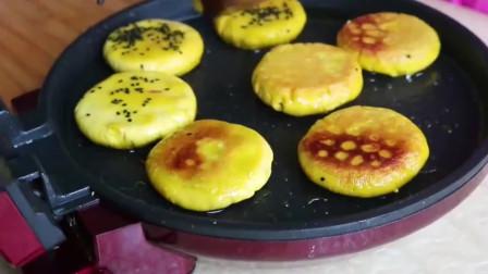胖妹煎紫薯南瓜饼,热油下锅煎至两面金黄,皮酥里香,软糯香甜