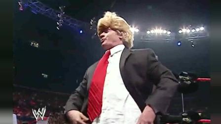 WWE:黄毛小伙报复心强烈,拿蛋糕糊肥婆一脸,太尴尬了!