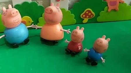 小猪一家贴上贴纸,他们都变得好大,乔治变得太小了